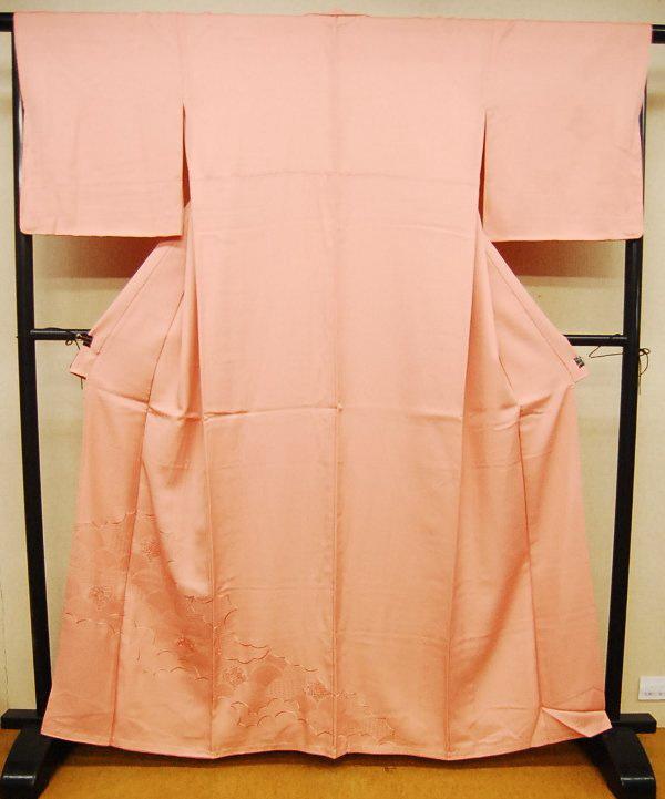 ピンク色の色無地の着物 染め直し