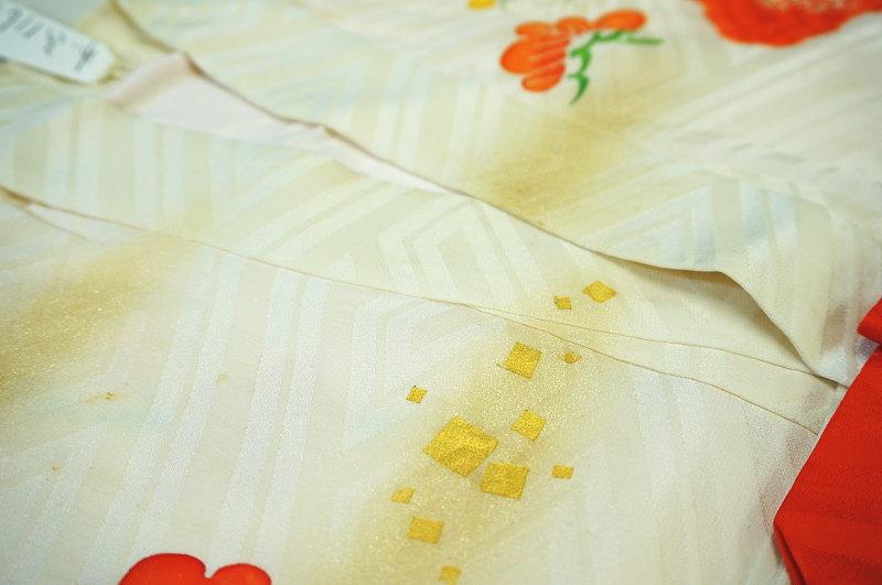 30年前のお宮参り着物の染み 箔ボカシ